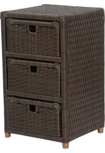 Comoda / Gabinete Artesanal Com 3 Gavetas 40X60X30Cm Em Fibra Sintética / Vime / Junco / Rattan