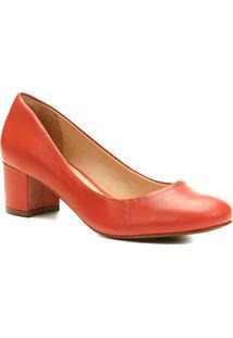 Scarpin Couro Shoestock Salto Baixo Bico Redondo - Feminino-Vermelho