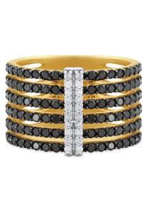 Anel Duo Ouro Amarelo Diamantes Brancos E Negros.