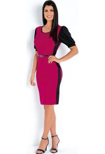 Vestido Pink E Preto Com Mangas Moda Evangélica