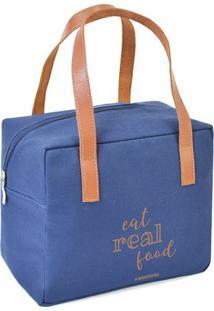 "Bolsa Térmica ""Eat Real Food""- Azul & Marrom Claro- Boxmania"
