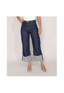 Calça Wide Pantalona Cropped Jeans Cintura Super Alta Azul Escuro