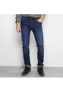 Calça Jeans Skinny Colcci Estonada Masculina - Masculino-Azul