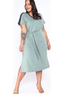 Vestido Almaria Plus Size New Umbi Liso Malha Verd