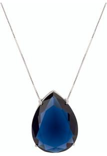 Colar Gota Maxi The Ring Boutique Pedra Cristal Azul Safira Ródio Ouro Branco