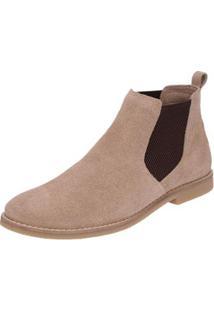 Bota Chelsea Camurça Escrete Boots Fechamento Em Elástico Masculina - Masculino-Marrom Claro