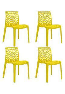Kit 4 Cadeiras Decorativas Para Sala De Jantar Lisboa F01 Amarelo - Mp