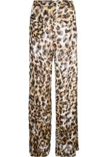 Josie Natori Couture Calça Com Animal Print E Contas - Marrom