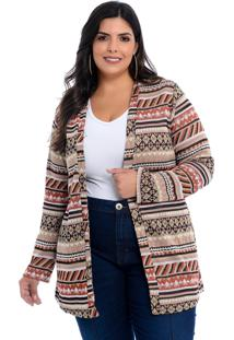 Maxi Cardigan Barrieli Bege Estampado