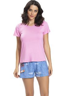 Pijama Recco Viscose Malha Touch Rosa - Rosa - Feminino - Dafiti