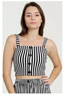 Blusa Feminina Cropped Listrada Alças Finas Marisa