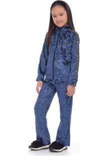 Conjunto Jaqueta E Calça Veludo Hello Kitty Feminino - Feminino-Azul