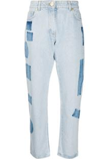 Versace Calça Jeans Reta Cropped Cintura Alta - Azul