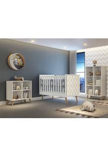 Dormitório Valentina Comoda Montessoriana Guarda Roupa Berço Lorena C/ Capitone Carolina Baby - Tricae