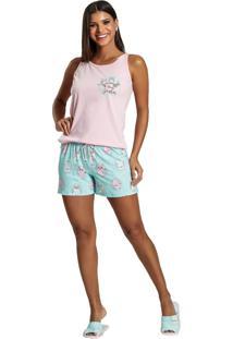 Pijama Recco Regata Malha 100% Rosa - Kanui