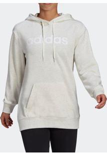 Blusão Adidas Essentials Oversize Logo Off White Feminino