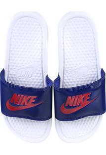 Chinelo Nike Benassi Jdi Slide Feminino - Feminino-Branco+Azul
