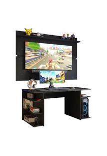 Mesa Gamer Madesa 9409 E Painel Para Tv Até 65 Polegadas - Preto Preto