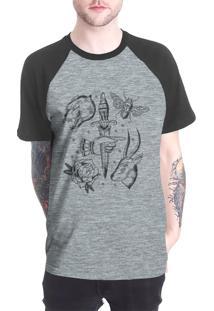 Camiseta Raglan Chess Clothing Dagger Tattoo Cinza