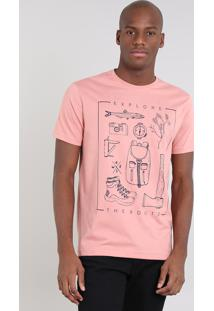 """Camiseta Masculina """"Explore"""" Manga Curta Gola Careca Coral"""