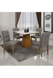 Conjunto De Mesa Com 4 Cadeiras Itália I Imbuia Mel E Cinza