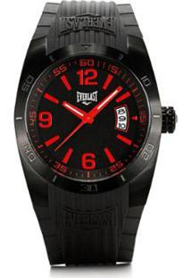 fe5c00a9794 ... Relógio Pulso Masculino Everlast Pulseira Silicone Analógico - Masculino -Preto+Vermelho