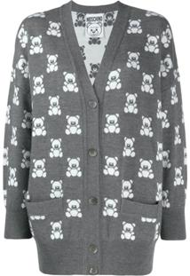 Moschino Cardigan Com Padronagem 'Teddy Bear' - Cinza