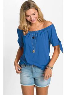 Blusa Ombro A Ombro Azul