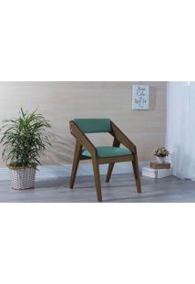 Poltrona Design De Madeira Estofada Turquesa Quadratto - Verniz Capuccino \ Tec.950 - 55X49X78 Cm