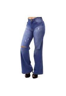 Calça Jeans Wide Leg Destroyed Feminina No Alcance