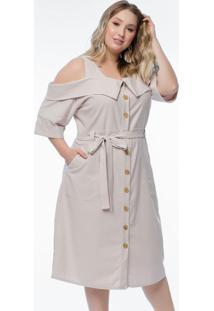 Vestido Plus Size Linho Bege