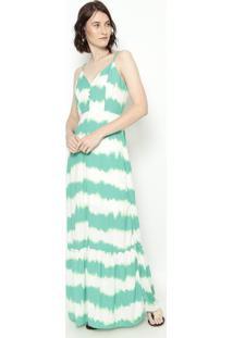 Vestido Longo Abstrato - Verde Água & Branco - Estilestilo H
