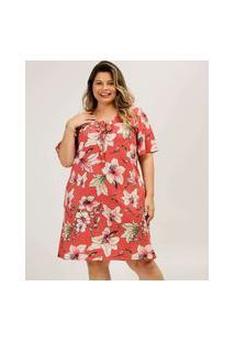 Vestido Plus Size Feminino Estampa Tropical Marisa