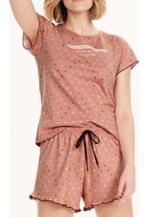 Pijama Feminino Curto Cor Com Amor 12608 Rosa-Anti
