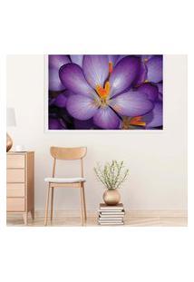 Quadro Love Decor Com Moldura Violetas Branco Médio