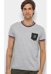 Camiseta Rg 518 Listras Gola & Manga Bolso Masculina - Masculino-Mescla Escuro
