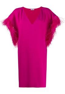P.A.R.O.S.H. Vestido Reto Panters Com Plumas - Rosa