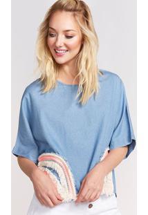 Blusa Em Seda Com Bordados - Azul & Branca- Pop Uppop Up