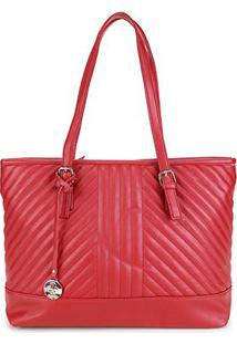 Bolsa Pagani Shopper Matelassê Chaveiro Feminina - Feminino-Vermelho