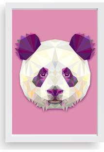 Quadro Love Decor Decorativo Com Moldura Abstrato Panda Branco