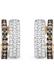 Brinco Ouro Rosã© Diamantes E Diamantes Brown