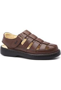 Sandália Masculina 321 Em Couro Floater Doctor Shoes - Masculino-Marrom