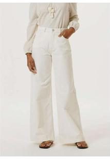 Calça Feminina Pantalona Cintura Super Alta Branca