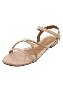 Sandália Heloize Calçados Bege Com Tiras