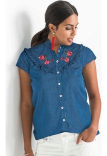 Blusa Jeans Com Gola Alta E Babados Azul