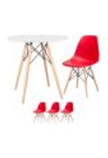 Conjunto De Mesa Eames 80 Cm Branco + 3 Cadeiras Eames Eiffel Dsw Vermelho