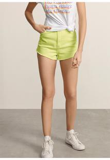 Shorts Feminino Em Tecido Sarjado De Algodão Com Detalhes Destroyed