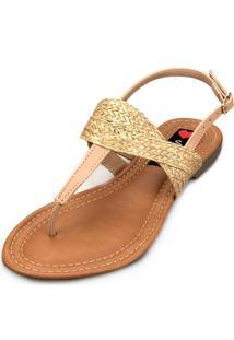 Sandália Rasteira Love Shoes Palha Juta Nude
