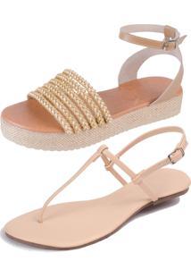 Kit 2 Pares Rasteiras Flat Simples E Jurere Da Mercedita Shoes