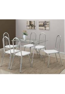 Mesa 387 Com Vidro Incolor Cromada Com 6 Cadeiras 182 Branca Carraro